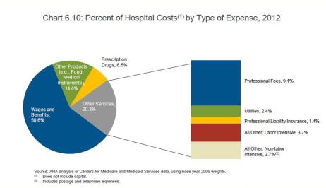 Hospital costs by expense type 2012
